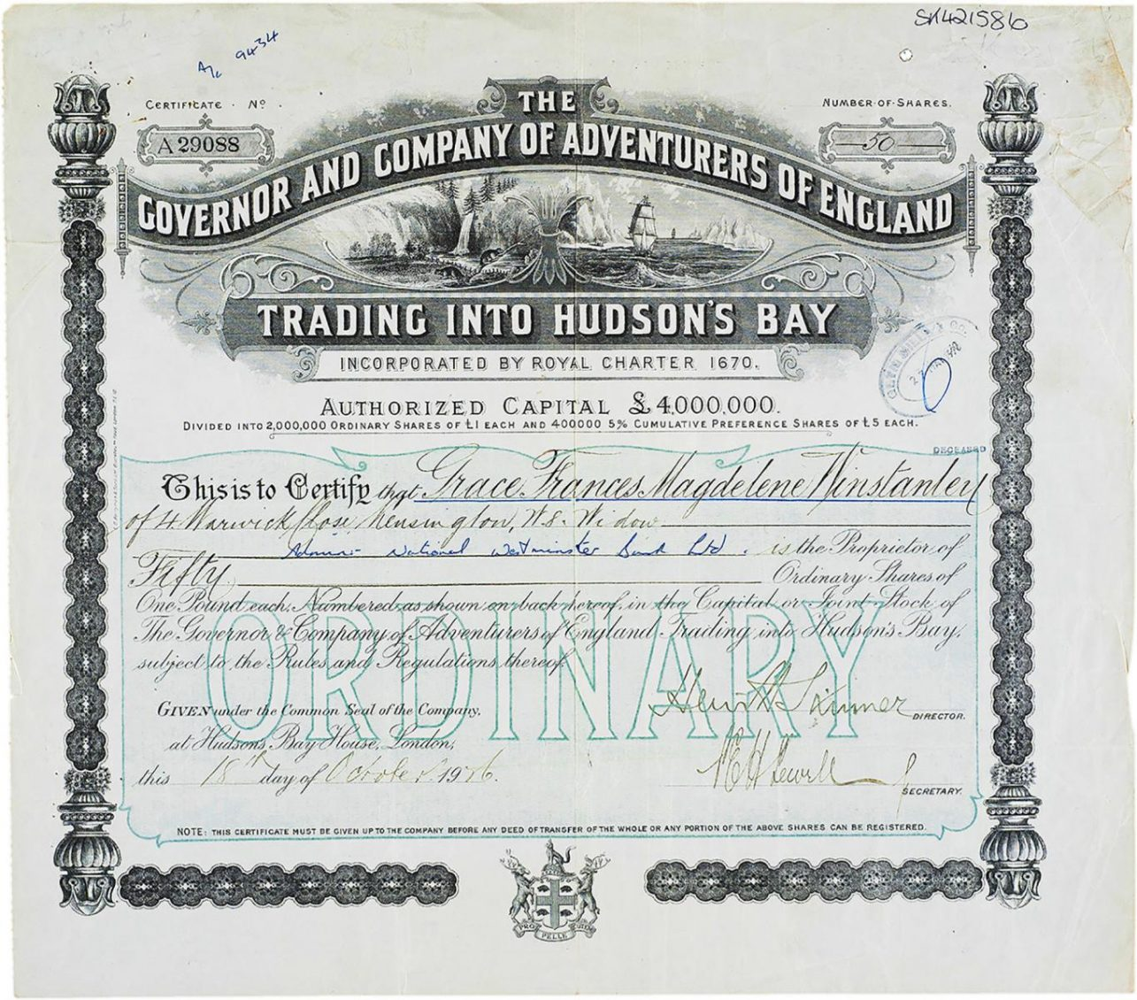 Certificate, black ink, elaborate geometric patterns, illustration of bountiful land and ships on arctic seas.