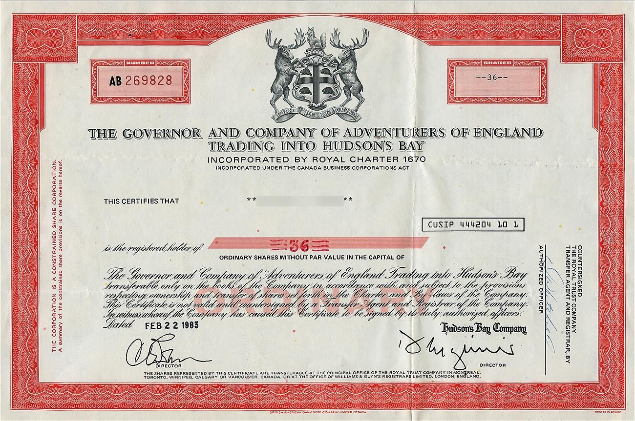 Certificate, red ink, border of elaborate geometric patterns and coat of arms bounded by moose.