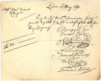 Document, yellowed with lines of handwriting in looped, flowing style.