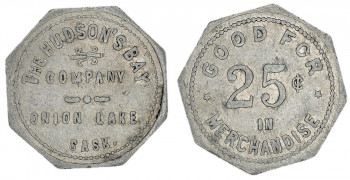 Token, grey metal, octagonal, with words and numbers stamped on it.