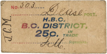 Ticket, brown paper, multicoloured stamped words and handwriting.