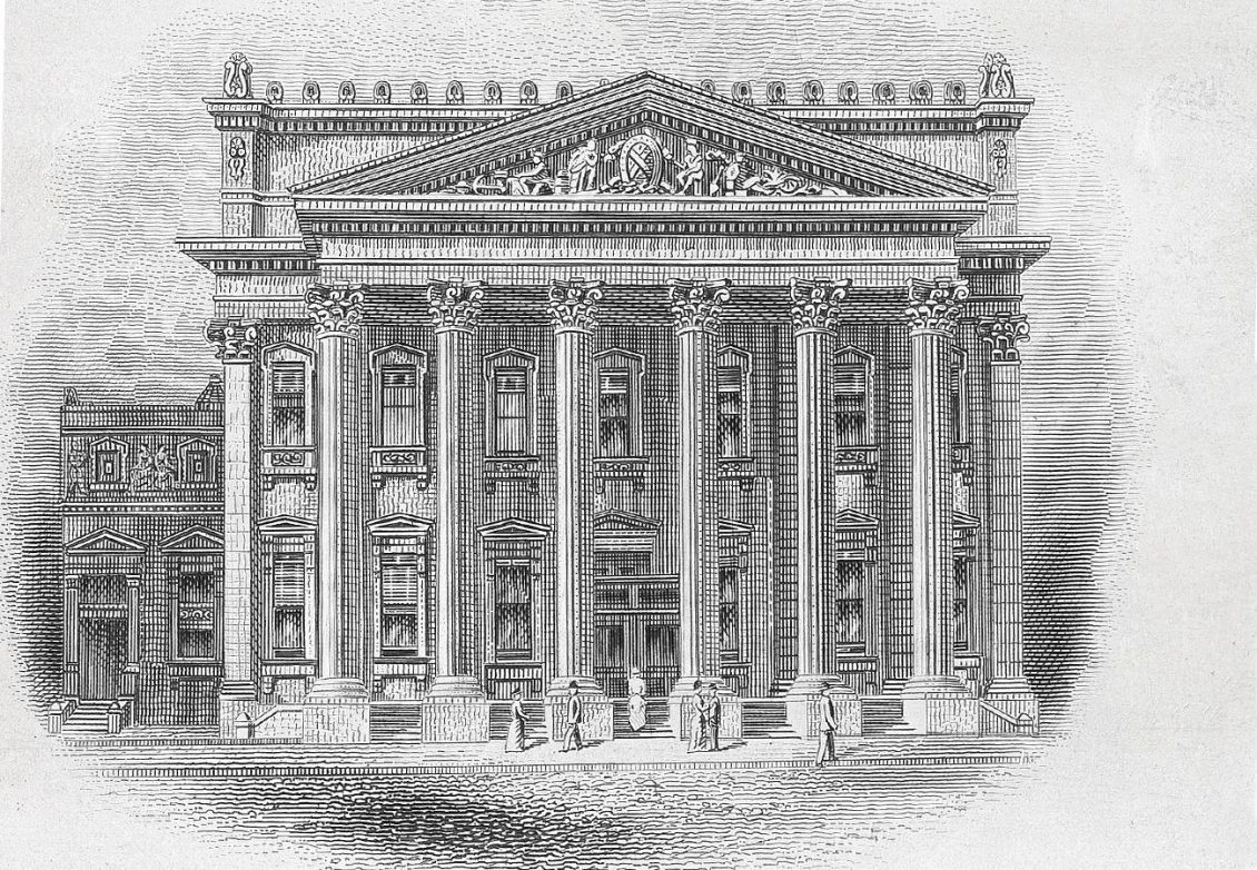 Illustration, building with 2-storey columns supporting a decorated porch roof.