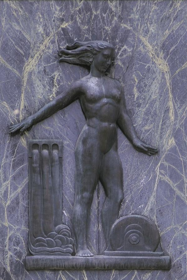 Collection of 7 images, each a bronze classical-design figure, alongside items that represent a trade.