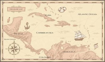 Map showing the Caribbean Sea between the Atlantic and Pacific Oceans in Central America.