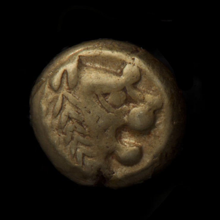 Coin, thick, pale gold-coloured, a crude lion's head facing right.
