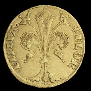 Coin, gold, a three-petalled flower with Latin text on either side of it.