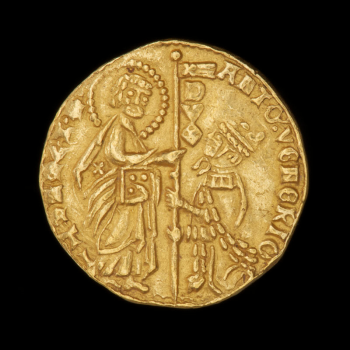 Coin, gold, a crowned man kneeling before a man with a halo, Latin script around the edges.