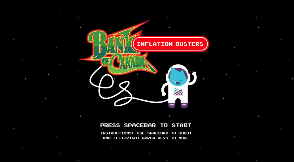 A cartoon astronaut waves in front of a logo of the game.