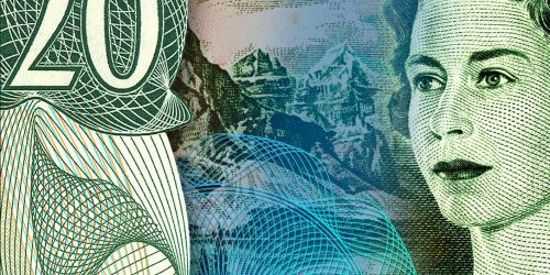 Collage, bank note details, green, face of middle-aged woman, mountains and large number 20.